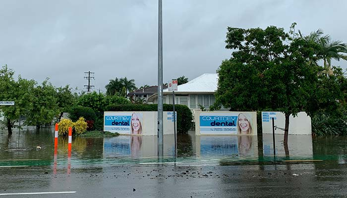 Townsville dentist Courtney Dental with flood water